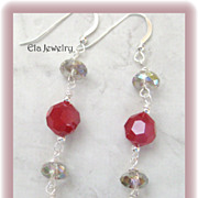 Elegant Long Earrings with Red and Champagne Accents