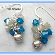 Flirtatious Swarovski Crystals Cluster Earrings