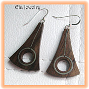 Modern Brown Wood with SIlver Inlay Earrings