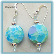 Artisan Lampwork Beads with Swarovski Crystal Earrings in Gorgeous Blues