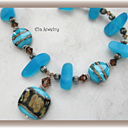 Blue Sea Glass Nuggets with Artisan Lampwork Pendant and Swarovski Crystal Necklace
