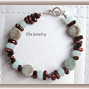Soft Shades of Mint Green and Dark Brown Beaded Bracelet