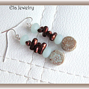 Soft Shades of Mint Green and Dark Brown Glass Earrings