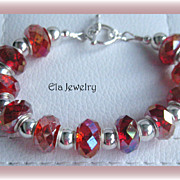 Fabulous Red Sparkle Glass Bead Bracelet
