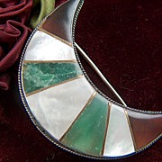 Vintage Inlaid Mother of Pearl and Green and Brown Agates Crescent Moon Belt Buckle