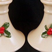 Vintage set of 2 Christmas Holly Berries Candlesticks / Candle Holders - signed Pelican Porcel