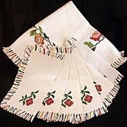 SALE Vintage NEW Embroidered Fringed Linen Tablecloth & 6  Napkins Set