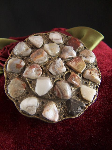 Vintage Lacy Agates Belt Buckle - Made in U.S.A.