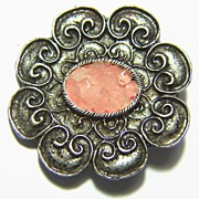 Vintage Silver Toned Clear Stones with Pink Belt Buckle