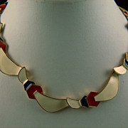 SALE Vintage signed Monet Red Light Cream and Blue Enamel Necklace