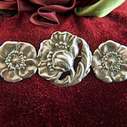 Vintage Sterling Silver Art Nouveau Poppies in a Row Brooch Pin