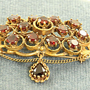 SALE Vintage 14K Rhodolite Garnet Brooch