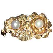 SALE Mid-Century 14K Yellow Gold and Pearl Pin