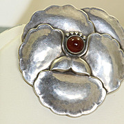 SALE Georg Jensen Brooch #113 with Carnelian Cabochon