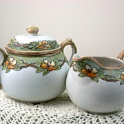 Hand Painted Nippon Sugar and Creamer