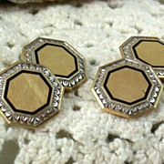 14K Deco Cuff Links