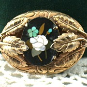 Vintage Gold Filled Pietra Dura Brooch