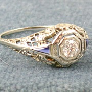 18KW Edwardian .22 CT Diamond and Blue Stone Filigree Ring