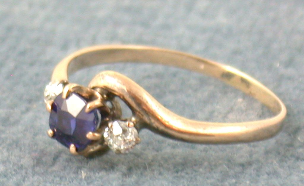 Estate Rose Gold Sapphire and Diamond Ring