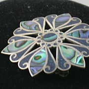 SALE De Los Ballesteros Sterling and Abalone Brooch