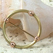 14K Krementz Two Tone Circle Pin