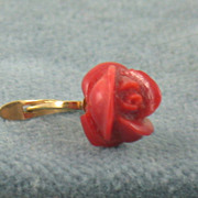 Estate 18K Blood Coral Earrings, Italy
