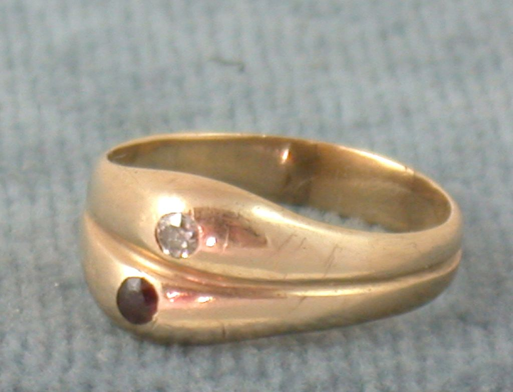 14K Double Ring with Diamond and Rhodolite Garnet