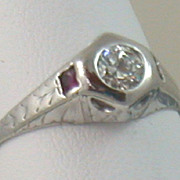 SALE Estate 14K 0.38 CT Diamond and Ruby Filigree Ring