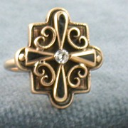 Estate 14K Enamel and Diamond Ring