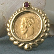 SALE 1902 5 Ruble Coin in Bezel with Ruby Cabochon