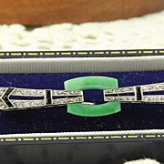 SALE Platinum Deco Jade Diamond Onyx Brooch