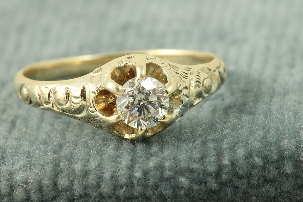 Estate 14K 0.35 CT Old European Cut Diamond Ring
