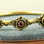 SALE 14K Etruscan Style 0.40 CT Ruby and Pearl Bangle