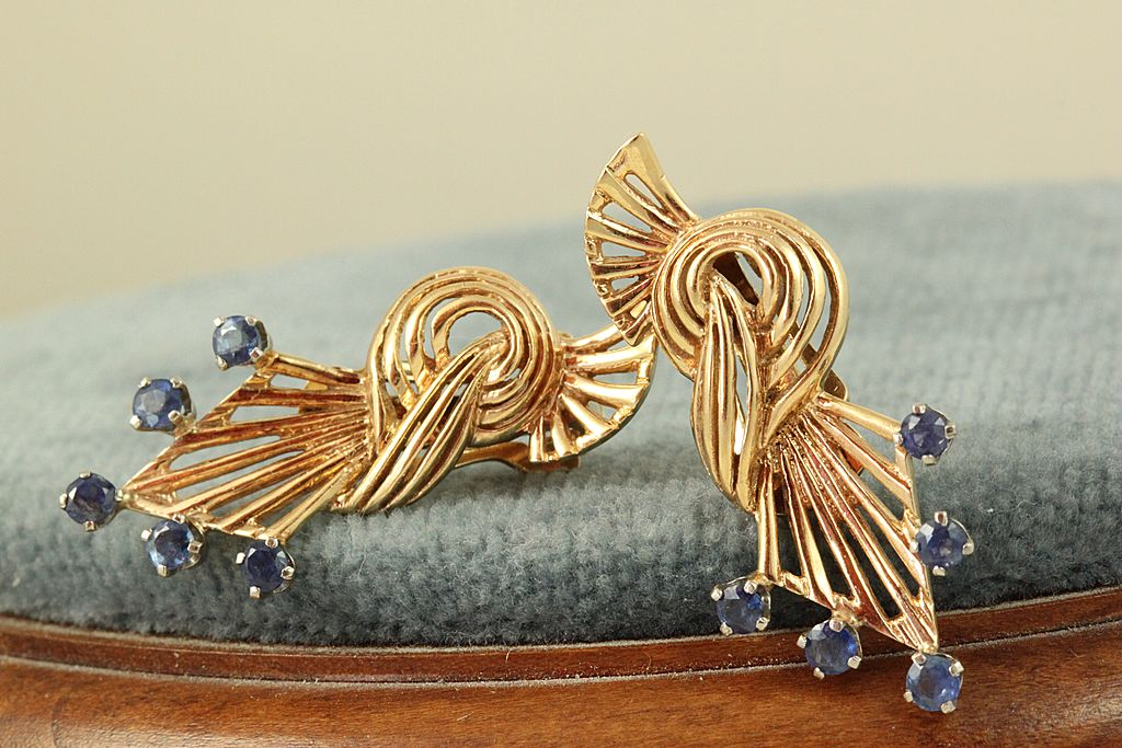 Estate 14K Rose Gold Sapphire Retro Earrings