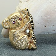 SALE Estate 14K Ruby and Diamond Bear Pin