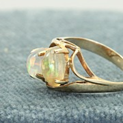 SALE 14K Double Opal Ring