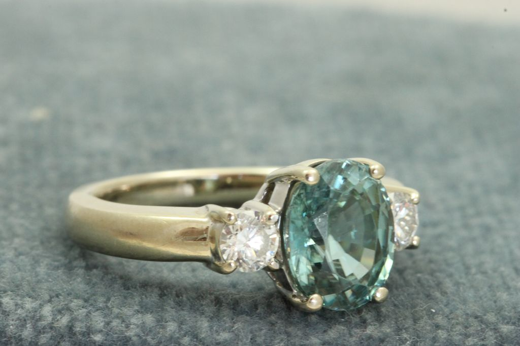 Estate 1950's 3 CT Blue Zircon and Diamond Ring