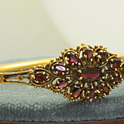 Estate 14K 5 Carat Garnet Bangle Bracelet