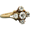 Estate 10K White Zircon Five Stone Ring