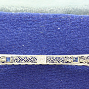 SALE 18K/Platinum Diamond Sapphire Filigree Bar Pin
