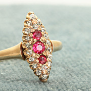 Early 12 C Rose Gold Red Stone and Old Mine Cut Diamond Ring