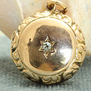 SALE Estate 14K Rose Gold and Diamond Locket