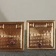 SALE Estate 14K and Ruby Calendar Cuff Links