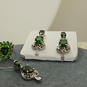 Estate 14KW Chrome Diopside Demi Parure