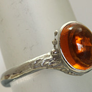 SALE Estate 14KW 2.5 CT Citrine Cabochon Ring