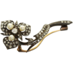 1880 French Diamond Sterling Gold Pearl Brooch