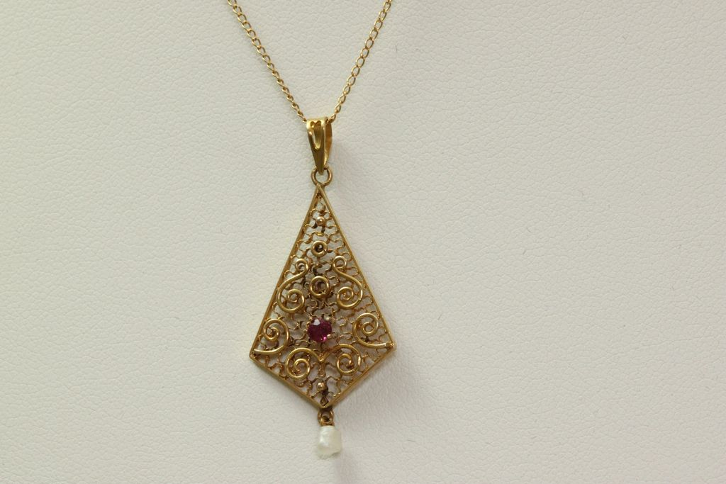 18&quot; Vintage 14K Garnet Filigree Pearl Pendant