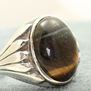 Estate Silver Tiger Eye Native American Ring