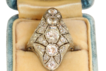 Estate 18KW Filigree 2 CT Old European Cut Diamond Lozenge Ring