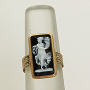 14K Victorian Hardstone Cameo Ring